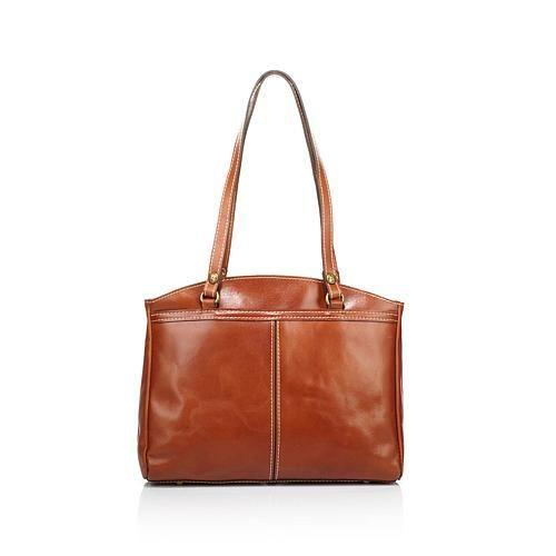 Patricia Nash Poppy Leather Top-Zip Tote - Tan