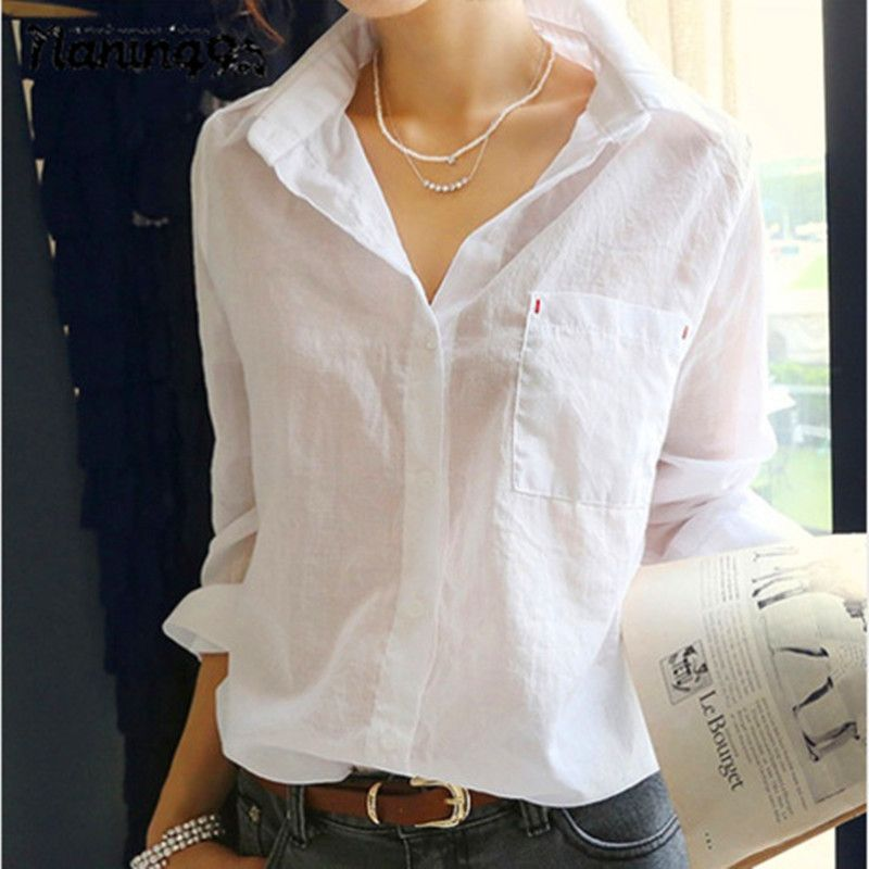 Plus Size White Shirt Loose Fluid Basic shirt At Home Service ...