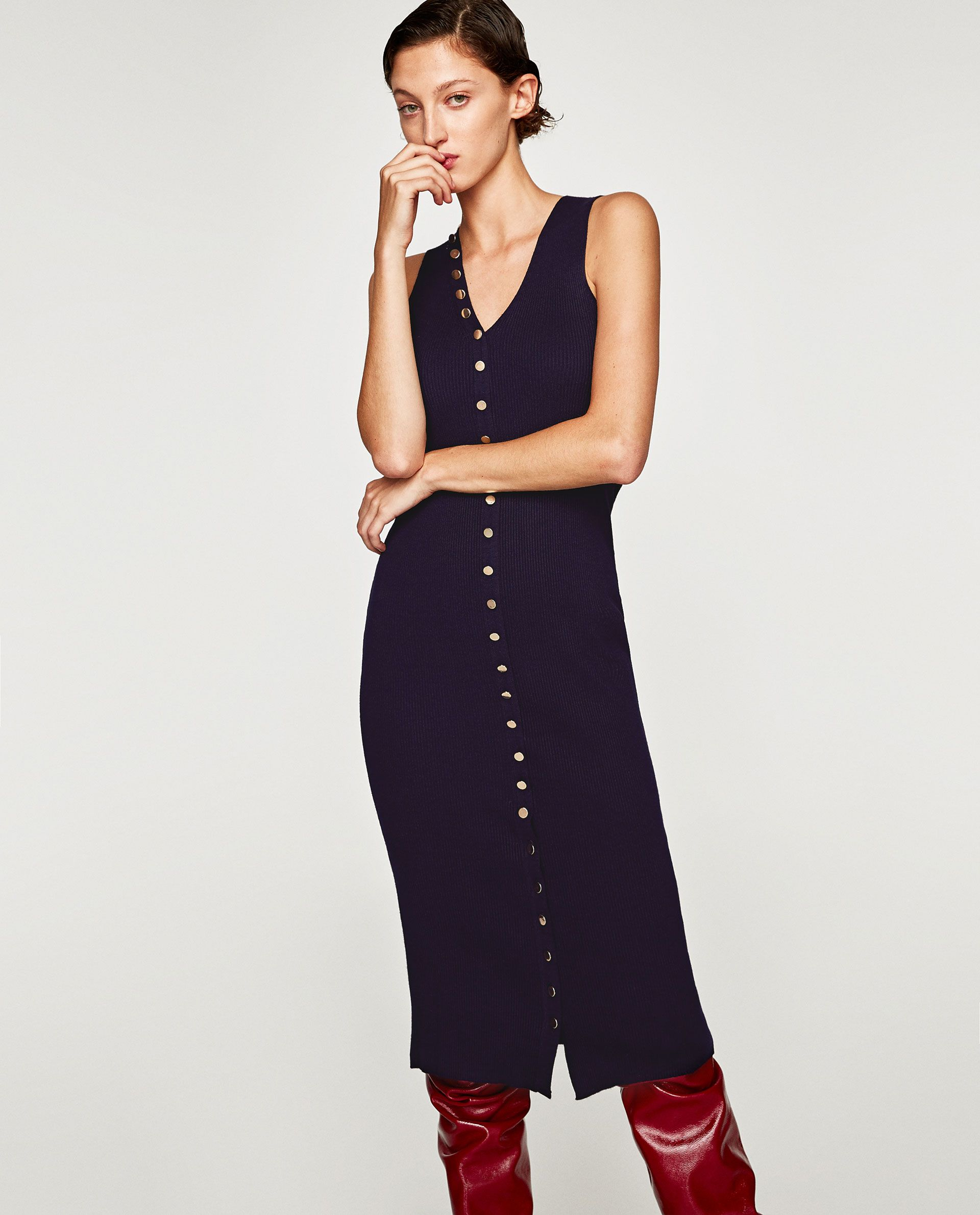 Image 2 of LONG STRIPED BUTTONED DRESS from Zara | Knit ...