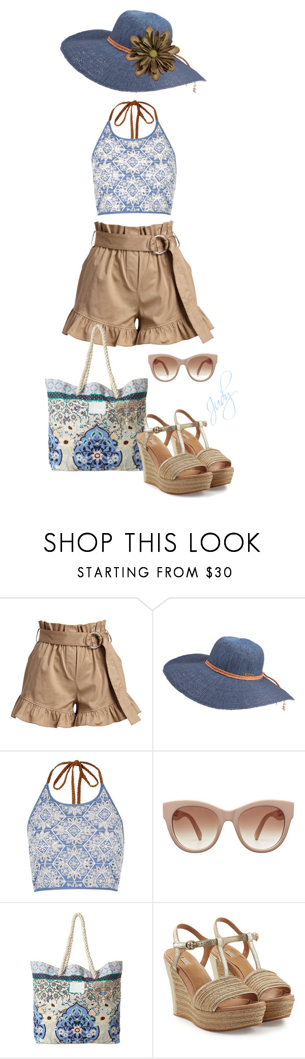 """Blue & Brown and BEACH! (Love those shorts!)"" by judymjohnson ❤ liked on Polyvore featuring Cinq à Sept, Billabong, River Island and UGG Australia"