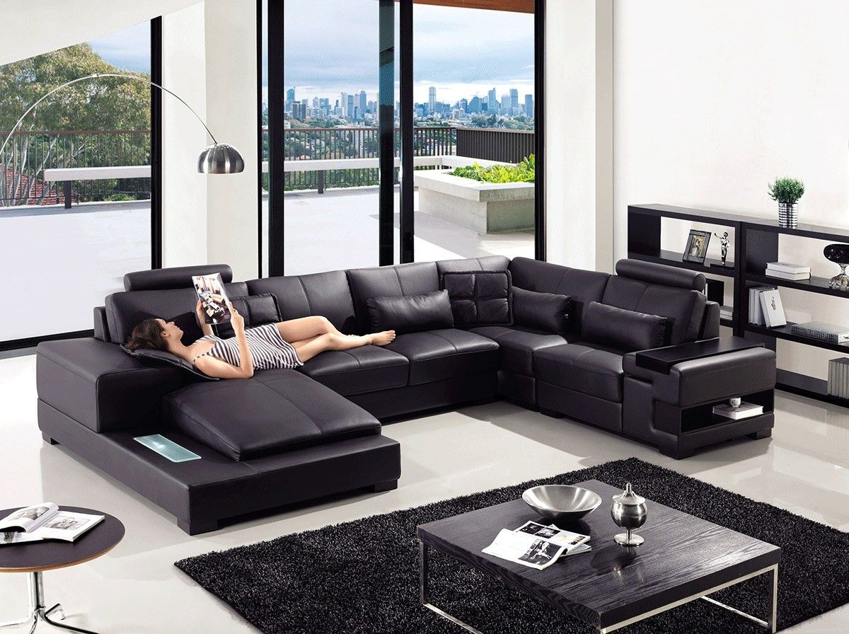 Modern Leather Sectional Sofa Furniture In Black 2320