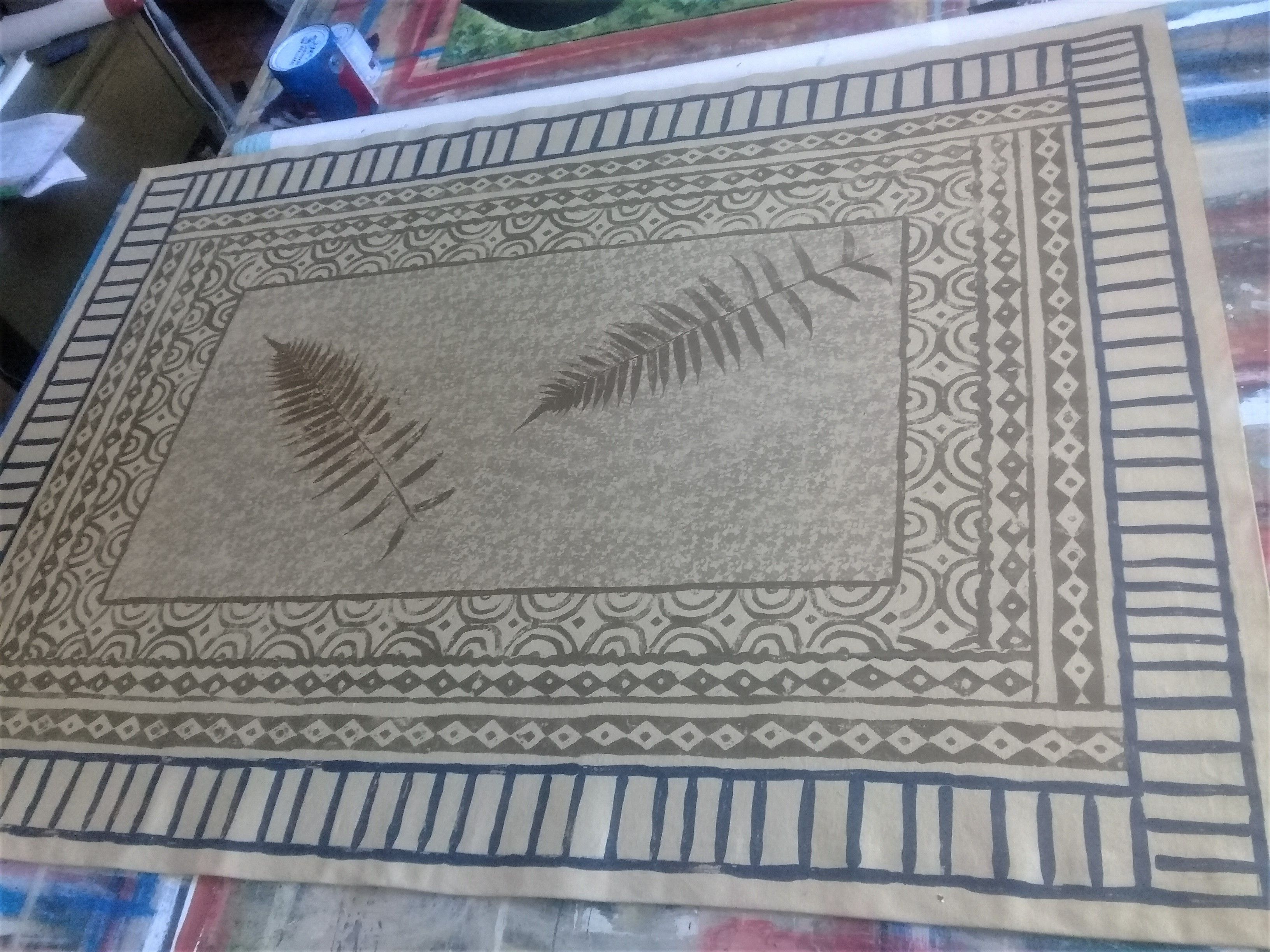 This Custom Canvas Rug Was Made Entirely With Stamps Including Sea Sponge It Was Taken From A Design On A Runner Rug S Custom Area Rugs Custom Rugs Floor Art