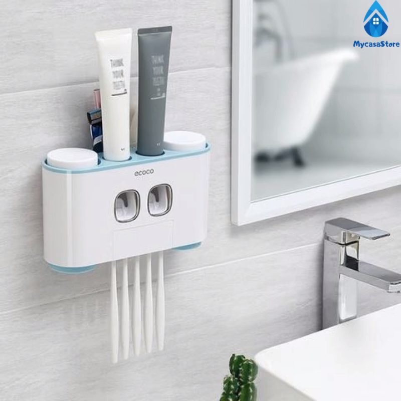Toothpaste Dispenser Video In 2020 Toothpaste Dispenser Bathroom Gadgets Wall Mounted Toothbrush Holder