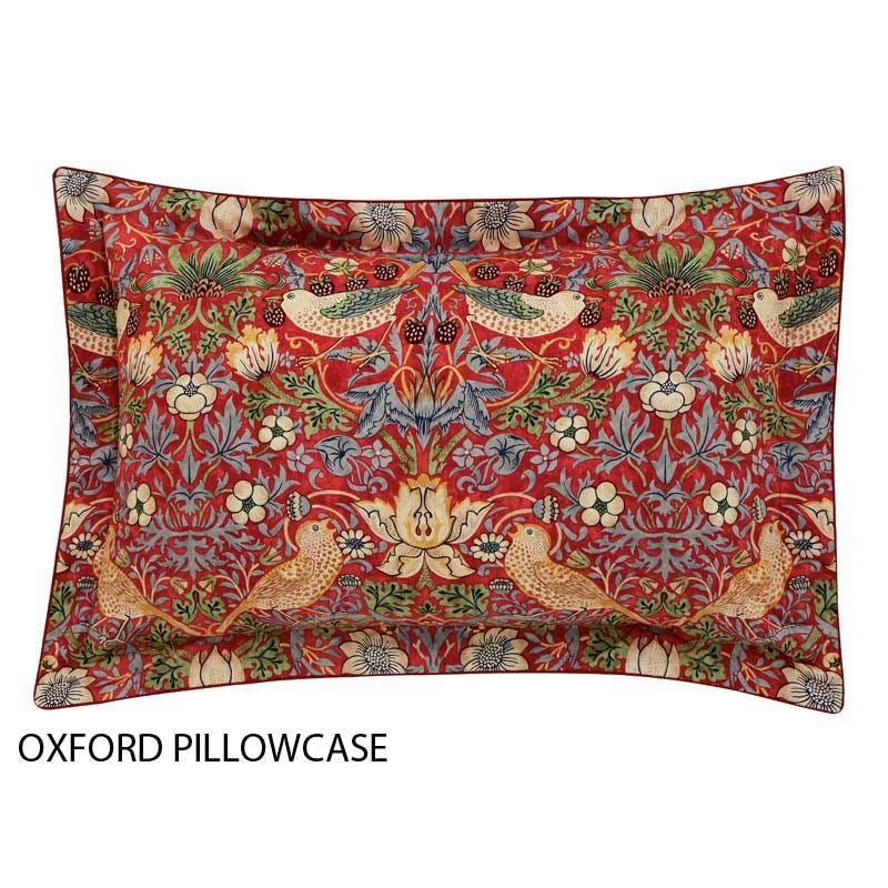 Strawberry Thief Crimson William Morris Red Bedding Duvet Cover Pattern