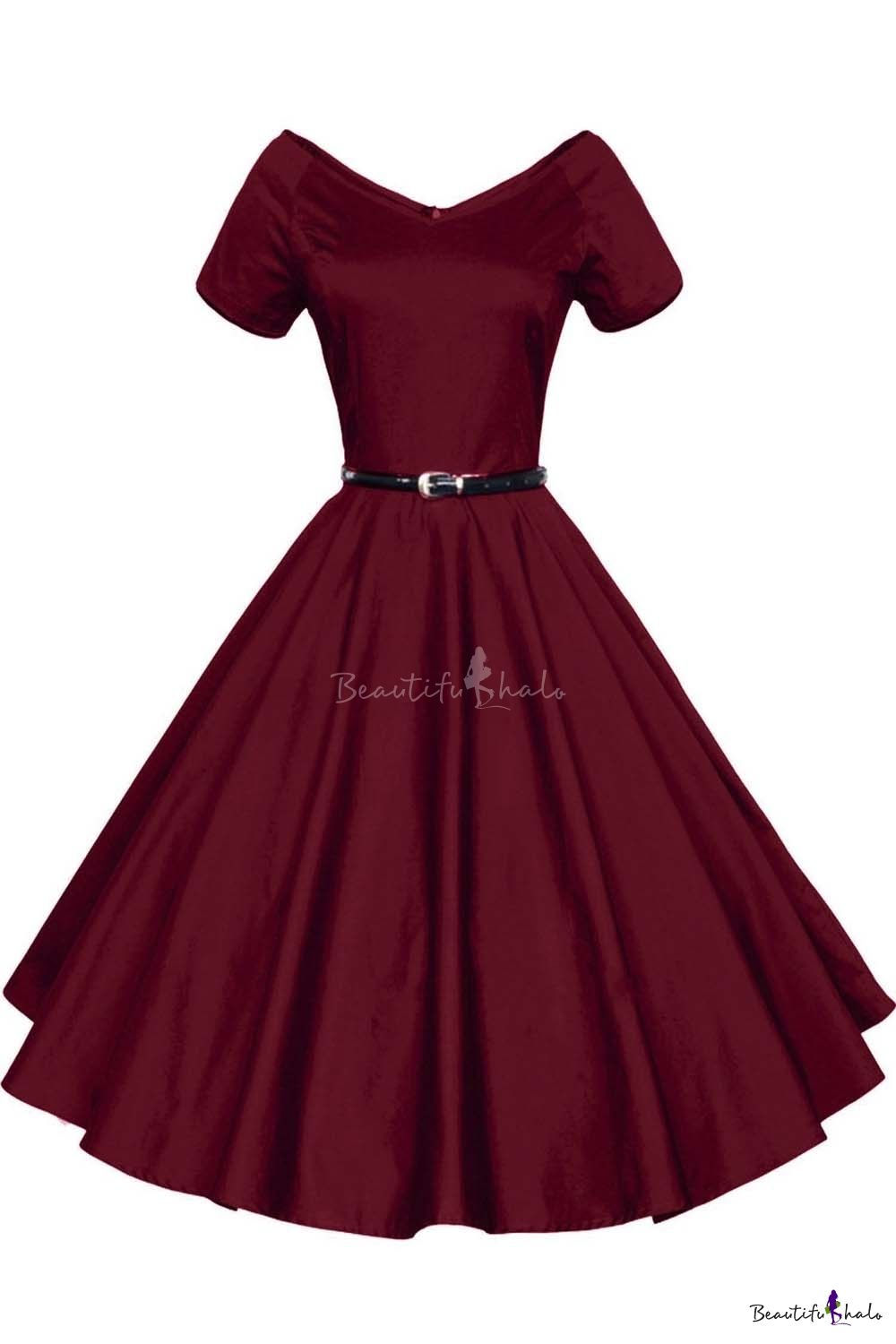 Women 1950s V-Neck Vintage Rockabilly Swing Evening Party Fit ...
