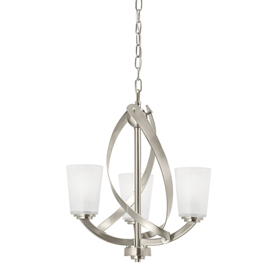 kichler lighting 3-light brushed nickel twist chandelier $118.15