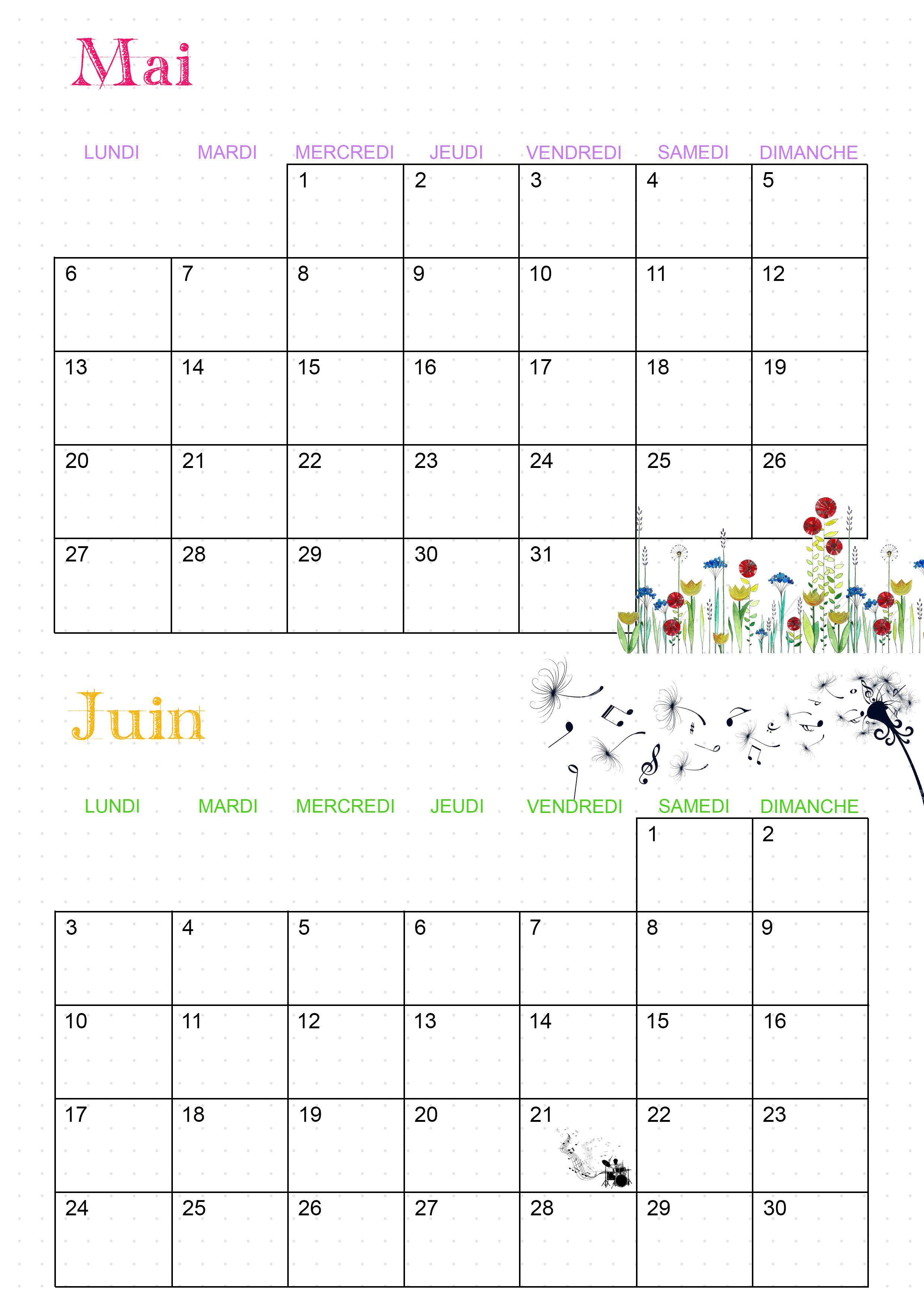 Calendrier 2019 Calendrier, Calendrier mois et