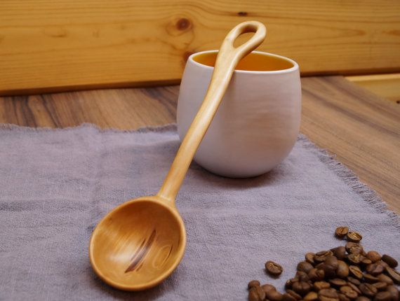 Carved wooden coffee scoop from pear woodwooden от DiamondWoodMaks