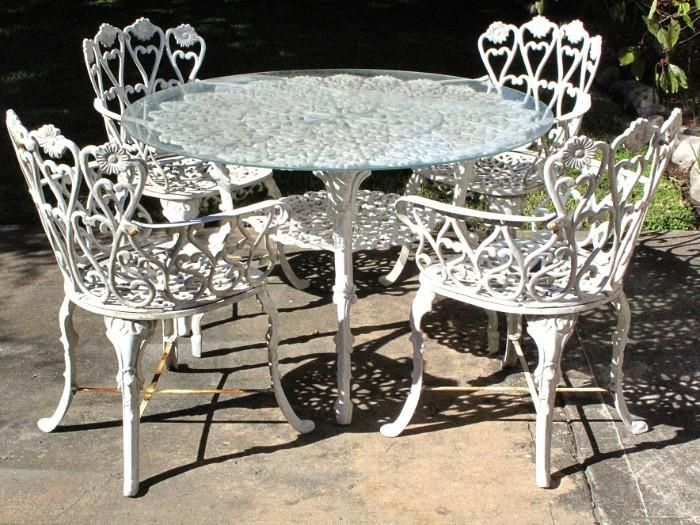 White Wrought Iron Patio Table With 4 Arm Chairs Wrought Iron