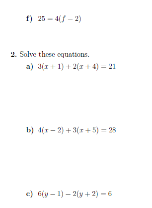 A Worksheet On Solving Linear Equations That Involve One Or Two Brackets Detailed Solutio Solving Linear Equations Graphing Linear Equations Literal Equations