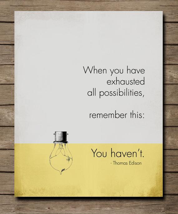 Thomas Edison, Inspirational Quote Poster, MOTIVATIONAL Art, grey ...