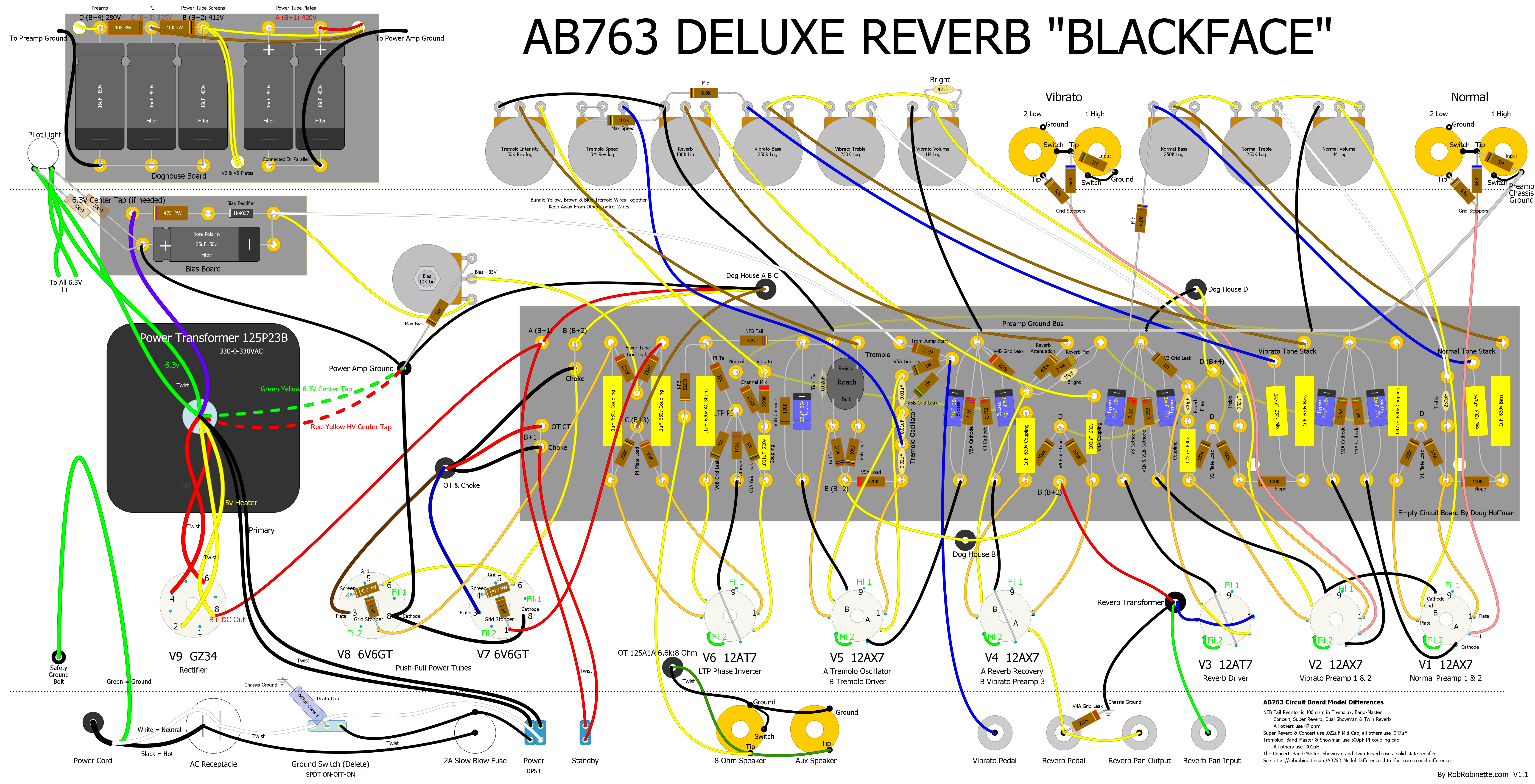 small resolution of 1963 fender blackface deluxe reverb tube guitar amp layout loudspeaker circuits bass tube