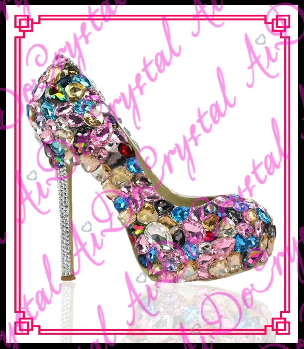 (208.00$)  Watch more here  - Aidocrystal 2016 international hot design high quality rhinestone upper colorful summer diamond crystal high heel shoes