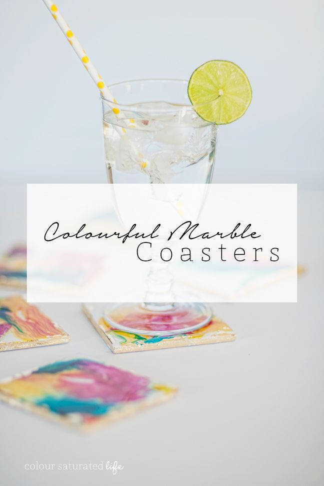 Colour Saturated Life | DIY Colourful Marble Coasters