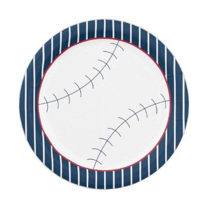 Navy Striped Baseball Paper Plate - birthday gifts party celebration custom gift ideas diy  sc 1 st  Pinterest & Navy Striped Baseball Paper Plate - birthday gifts party celebration ...