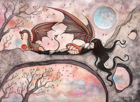 """""""""""Winds of Autumn"""" Fairy and Dragon """" by Molly Harrison 