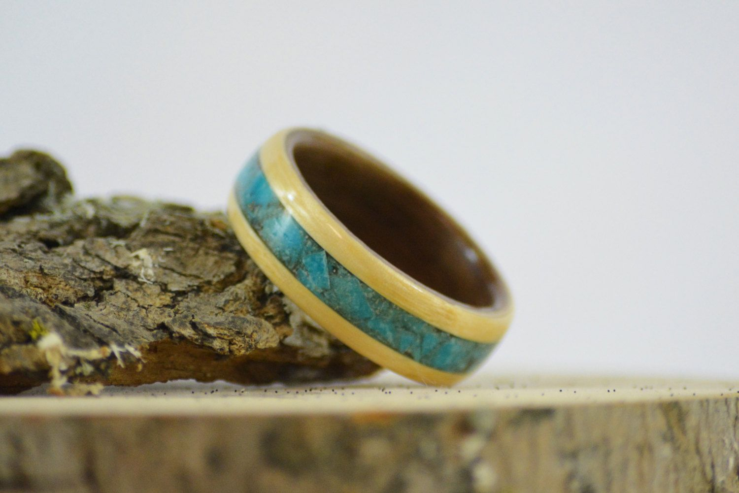 Bentwood ring | turquoise ring | wooden ring | engagement ring | wood inlay ring | Bentwood maple ring with walnut liner and turquoise inlay