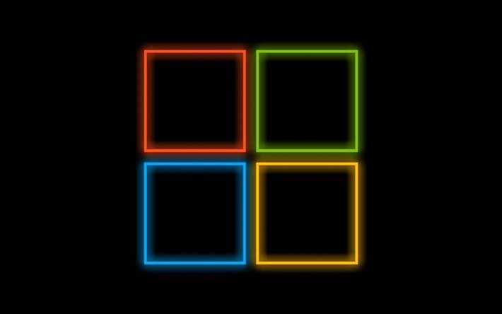 logo, Windows 10, OS, black background
