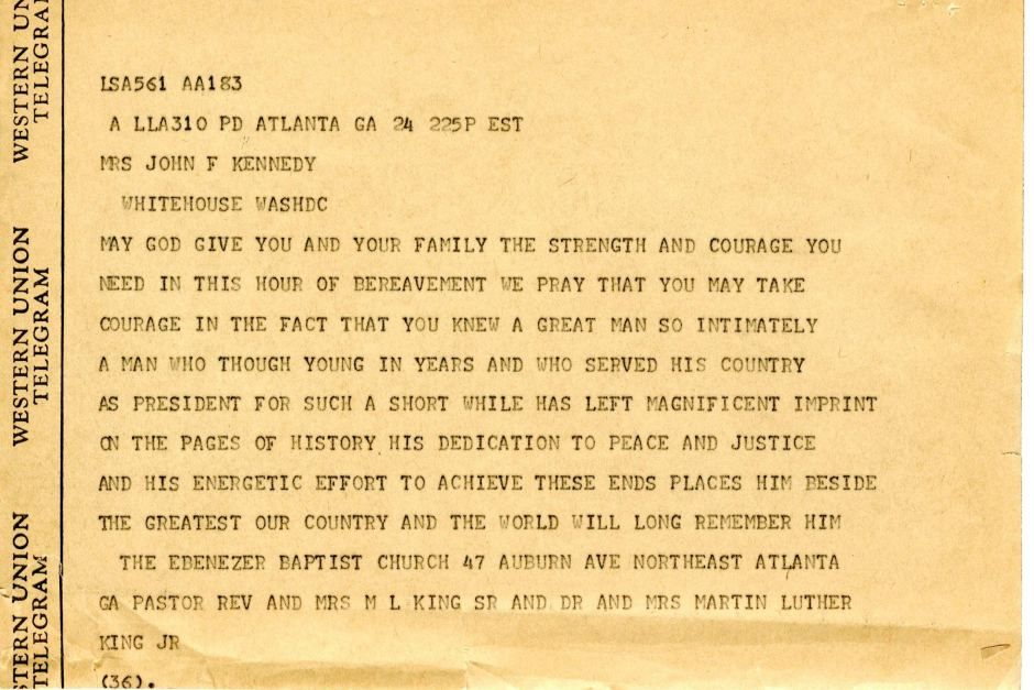 Condolence letter from Dr Martin Luther King to Jacqueline Kennedy