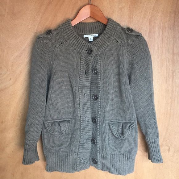 Banana Republic | Sweater Chunky knit sweater. Army green. Big buttons and the cutest pockets! 3/4 length sleeves. Great condition! Banana Republic Sweaters
