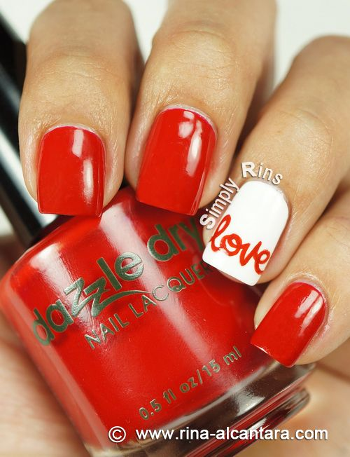 Love Nail Art Design on Dazzle Dry Rapid Red. So I 'love' this.  Is that a cliché or something?