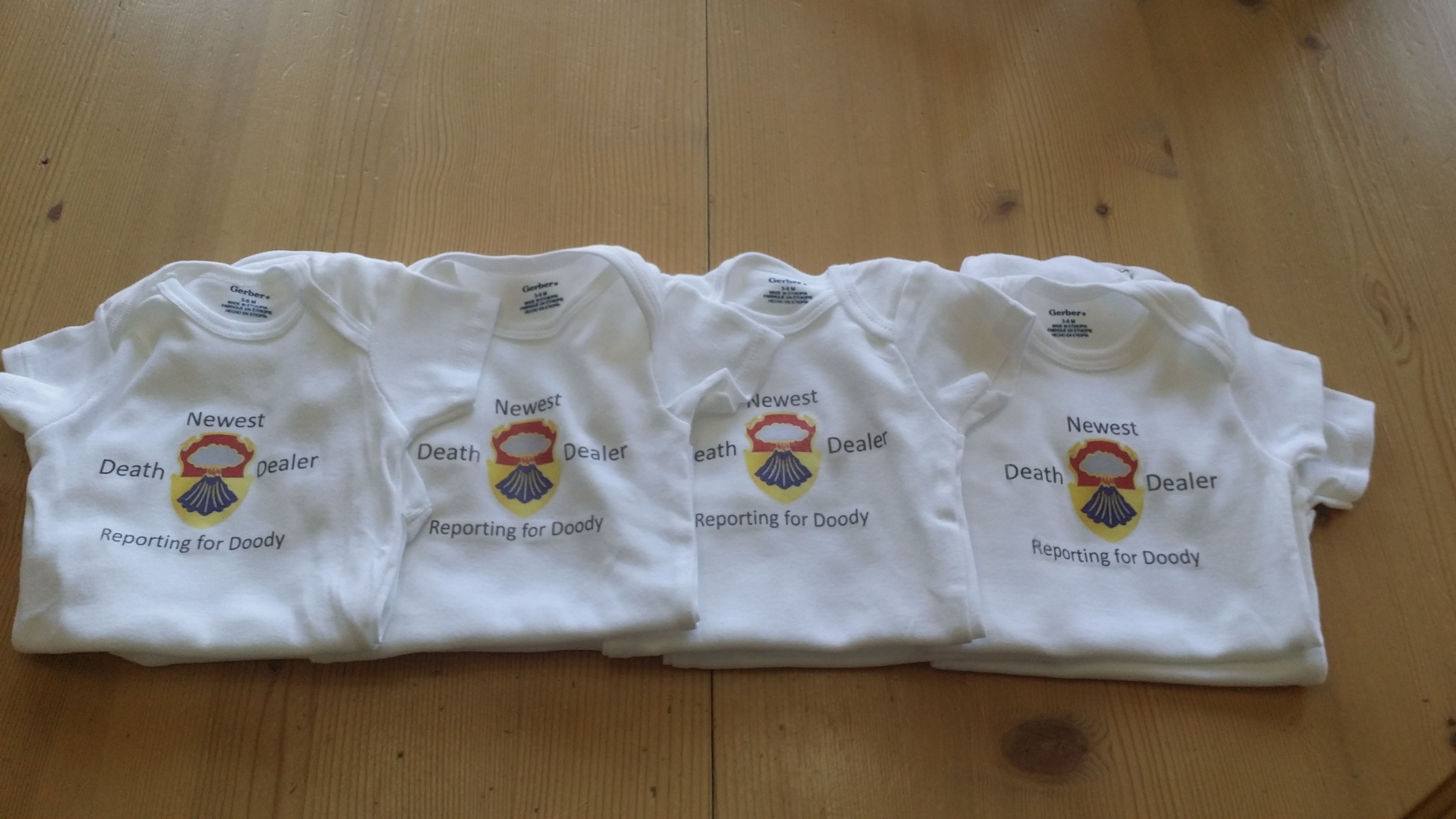 DIY Battalion Onesies. All you need is transfer paper, onesie, ink printer, an iron, and a little bit of time!