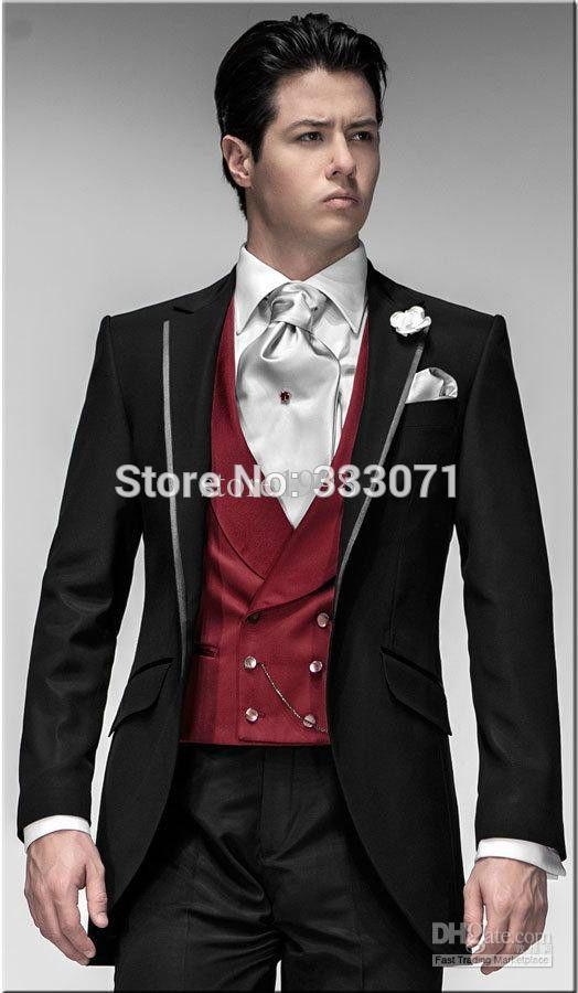 Custom Made Groom Tuxedos Black Suit Red Vest Notch Lapel Best man ...
