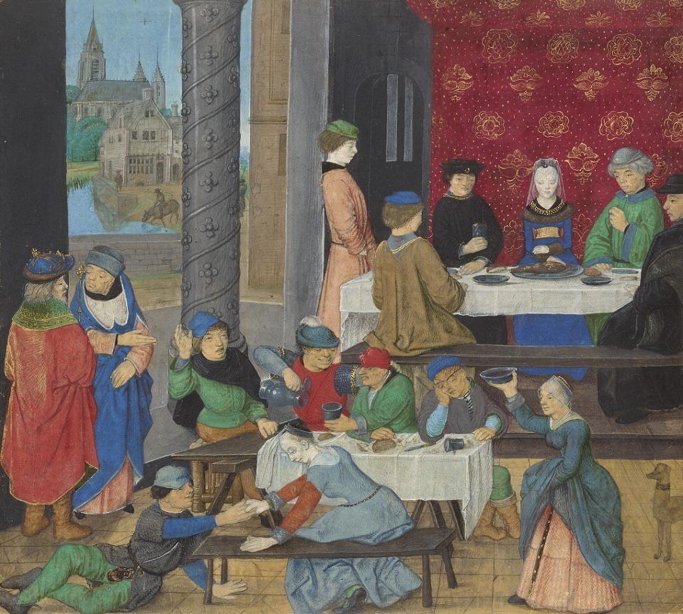 """""""The Temperate and the Intemperate,"""" about 1475 - 1480, Master of the Dresden Prayer Book.  http://www.getty.edu/art/collection/objects/105137/master-of-the-dresden-prayer-book-the-temperate-and-the-intemperate-flemish-about-1475-1480/"""