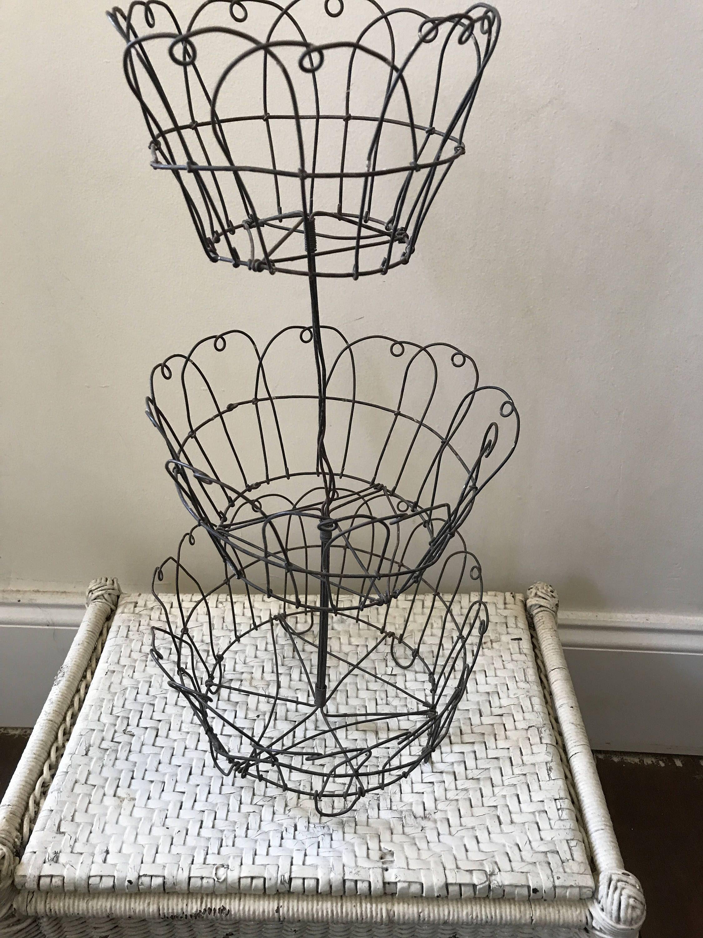 Vintage Primitive Wire Farmhouse Three Tiered Basket By Forgottencloverfarm On