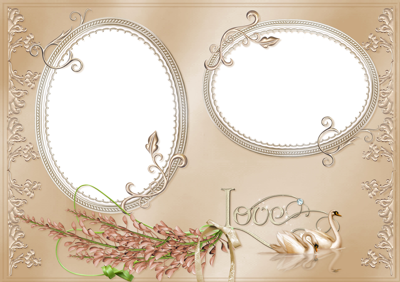 floral border double oval photo frame on brown