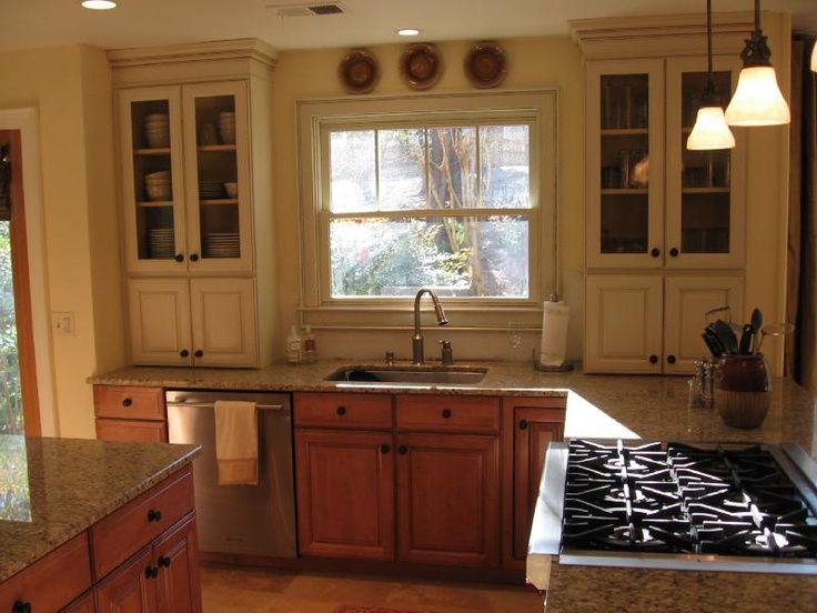 Mix Wood And Painted Cabinets Google Search Upper Kitchen Cabinets Kitchen Renovation Kitchen Cabinets