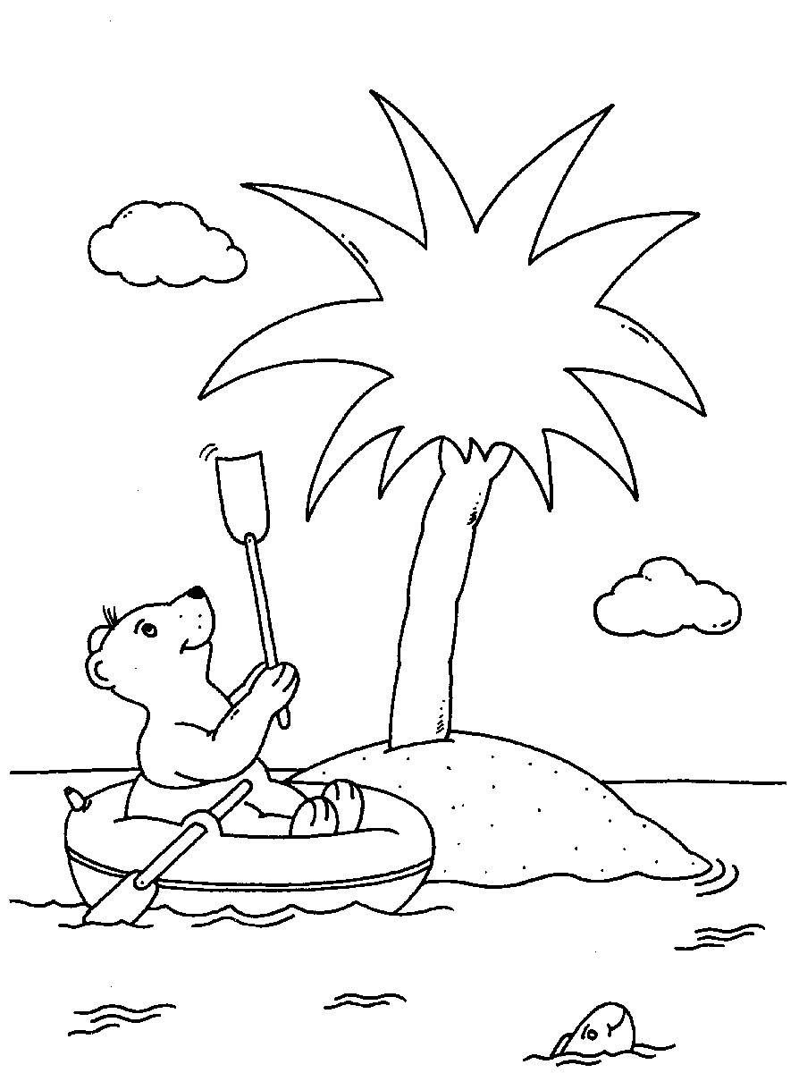Ausmalbild Urlaub und Reisen: Bär im Schlauchboot kostenlos