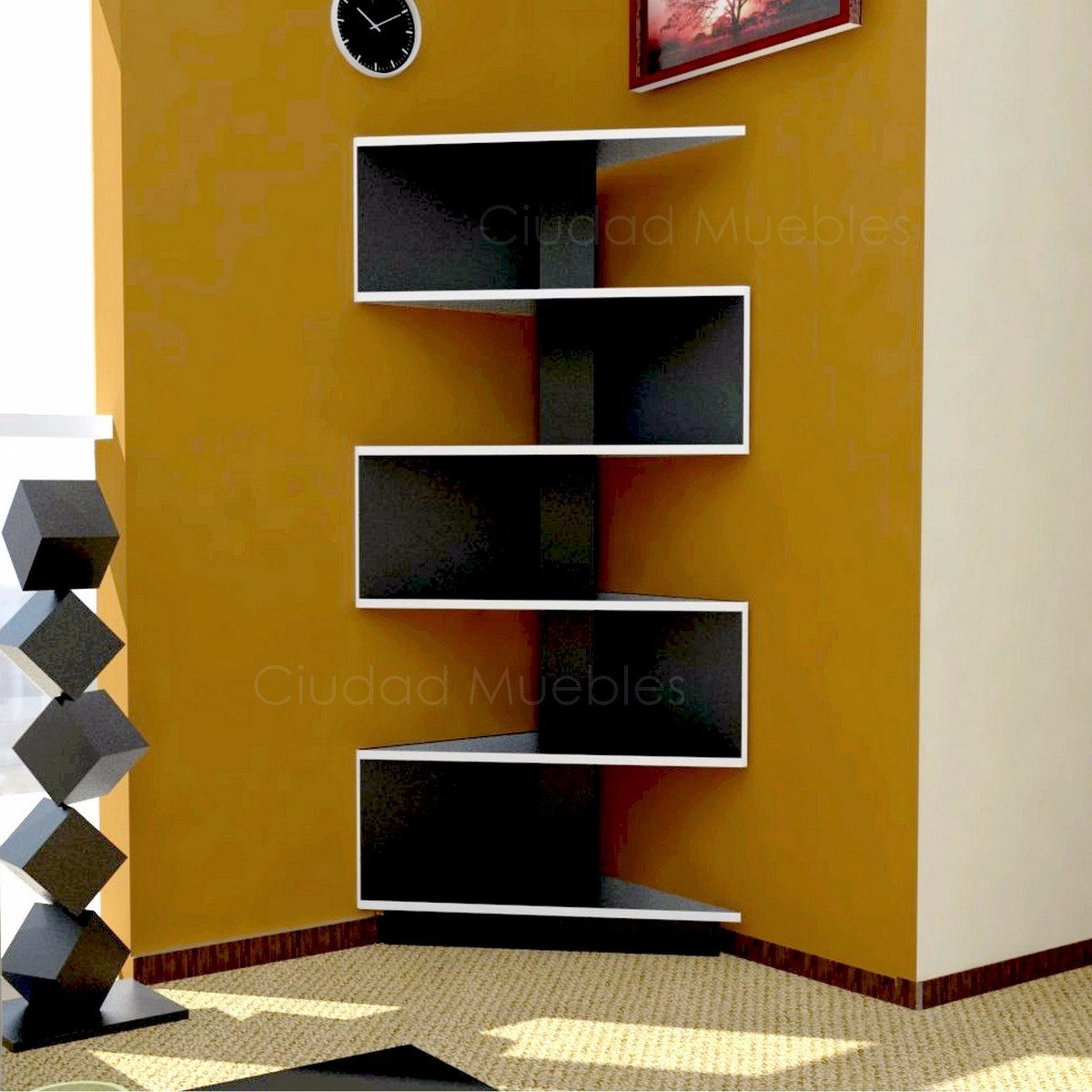 Modular mueble esquinero moderno dise o minimalista unico for Disenos de modulares para living