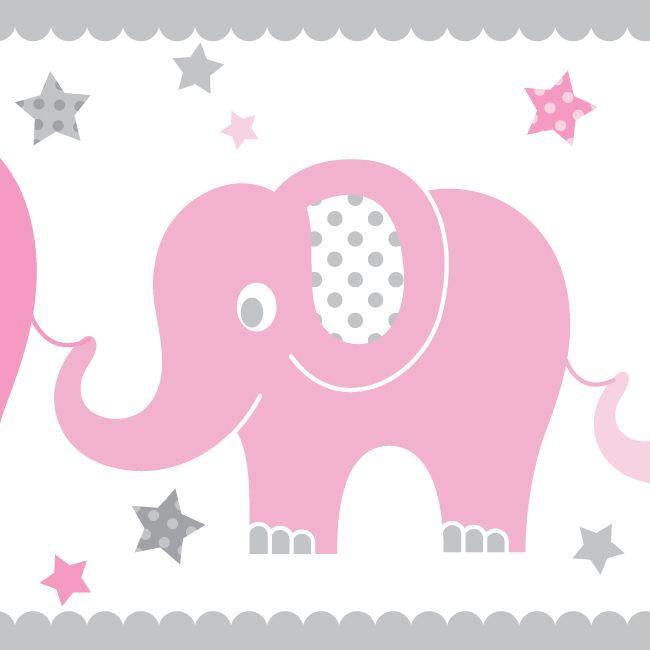 kinderzimmer bord re elefanten rosa grau selbstklebend elefanten babyzimmer f r m dchen in. Black Bedroom Furniture Sets. Home Design Ideas