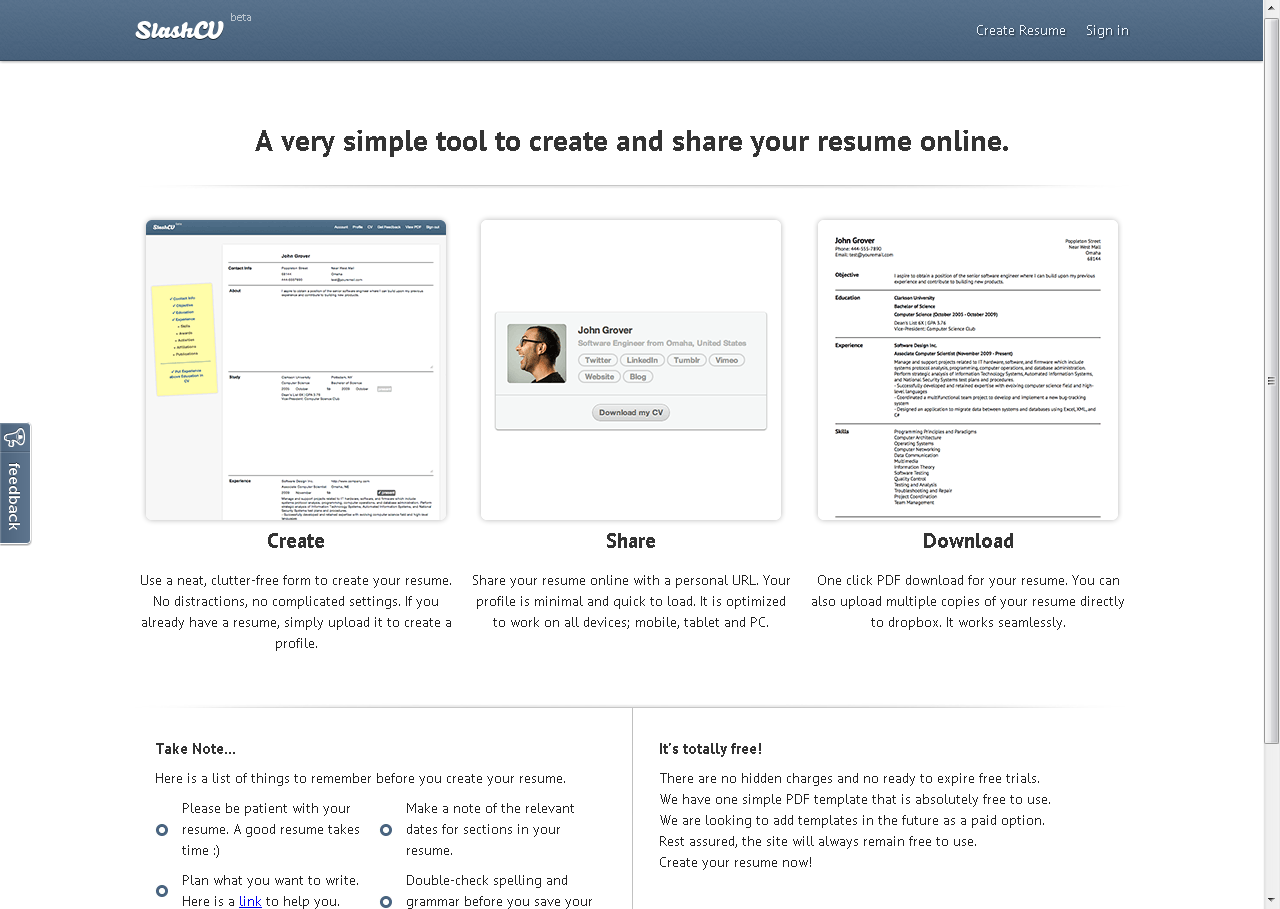 Create A Resume Online Slashcv  A Very Simple Tool To Create And Share Your Resume Online