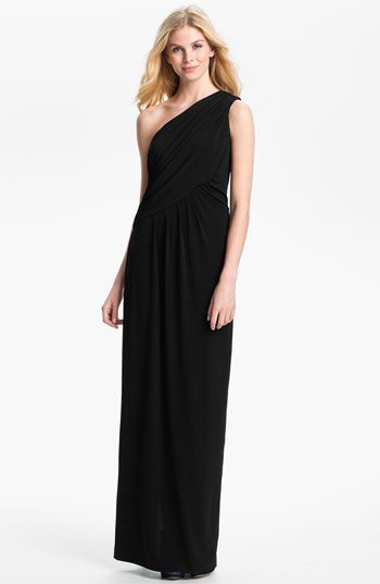 Not the right fabric, but this style is cute! Calvin Klein One Shoulder Draped Jersey Gown