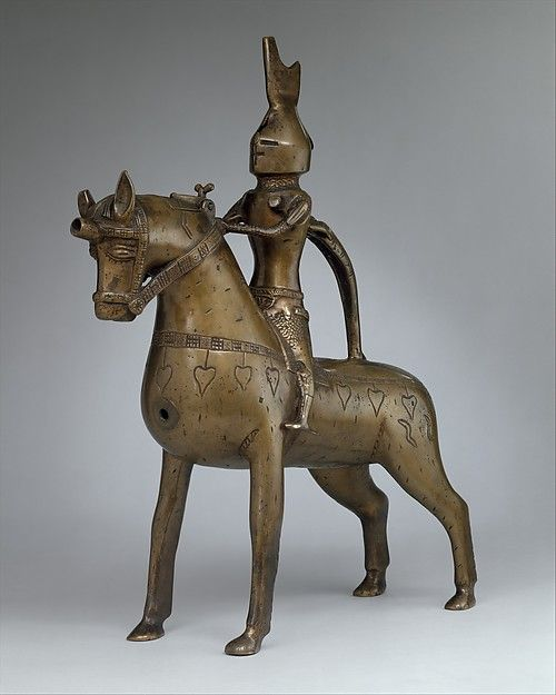 Aquamanile in the Form of a Knight on Horseback Date: ca. 1350 Culture: German, Lower Saxony (?) Medium: Bronze; Quaternary copper alloy with a high content of zinc (approx. 73% copper, approx. 15% zinc, approx. 7% lead, approx. 3% tin) with natural patina, hollow cast; remnants of the clay core and iron armature in the legs Dimensions: H. 45.2 cm, w. 12.7 cm, l. 38 cm, wt. 5016 g.