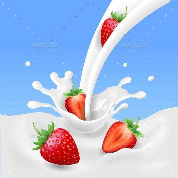 Strawberry And Milk Realistic Yogurt Splashing Fruit Splash Milk Splash Yogurt