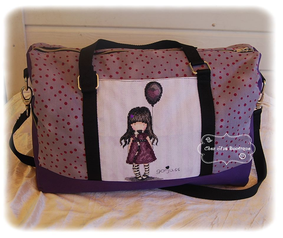 Sac Boston Gorjuss cousu par Chez Elsa Boutique - Patron Sacôtin