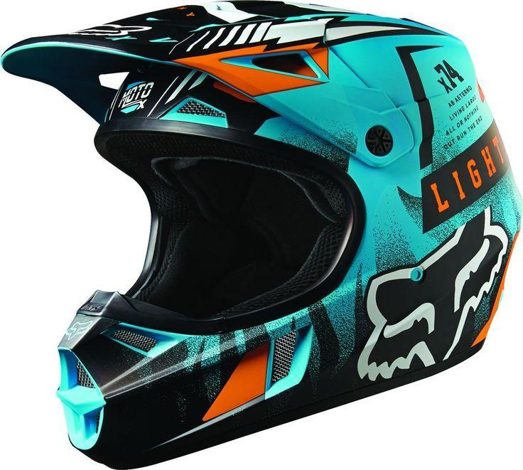 Fox Racing V1 Vicious Youth Motocross Helmets Blue Youth