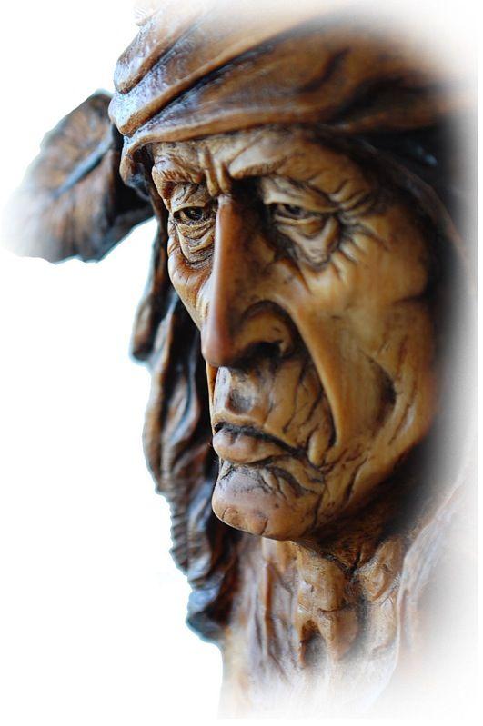 Ooak wood tree spirit carving americana native