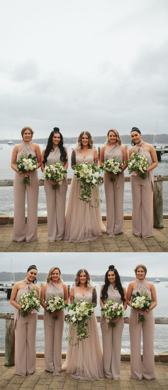 Light Champagne Chiffon Bridesmaid Jumpsuits, Sleeveless Halter Bridesmaid Jumpsuits,Fashion Bridesmaid Jumpsuits