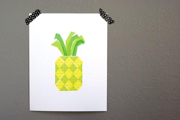Oleander and Palm: Geometric Pineapple Print