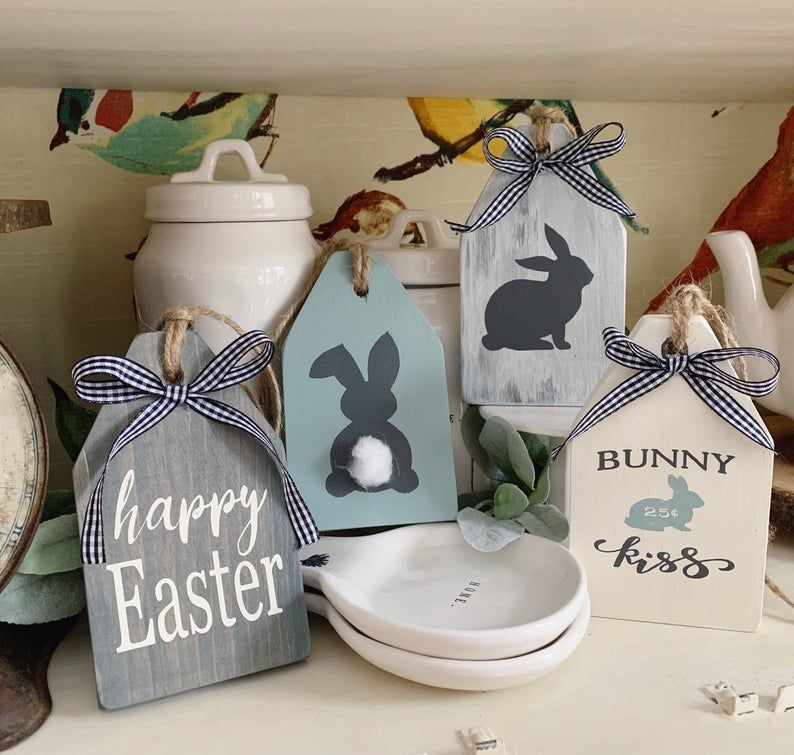 Photo of Easter Signs / Easter Decor / Wood Tags  / Spring decor / Easter Tag / Bunny Sign / Tiered Tray Decor / Farmhouse Decor