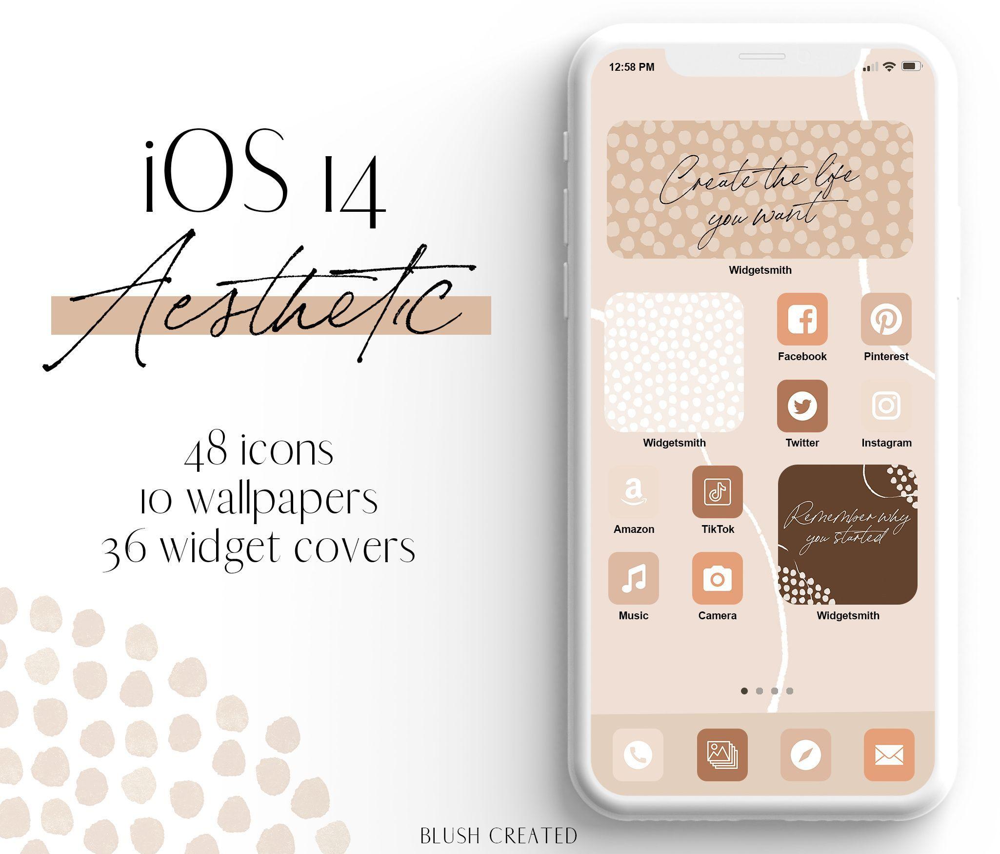 Ios 14 Aesthetic Desert Iphone App Icons Blush Created Iphone App Design Iphone Design Homescreen