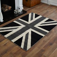 Modern Medium Large Extra Black Grey Union Jack And Best Cost Rugs Area
