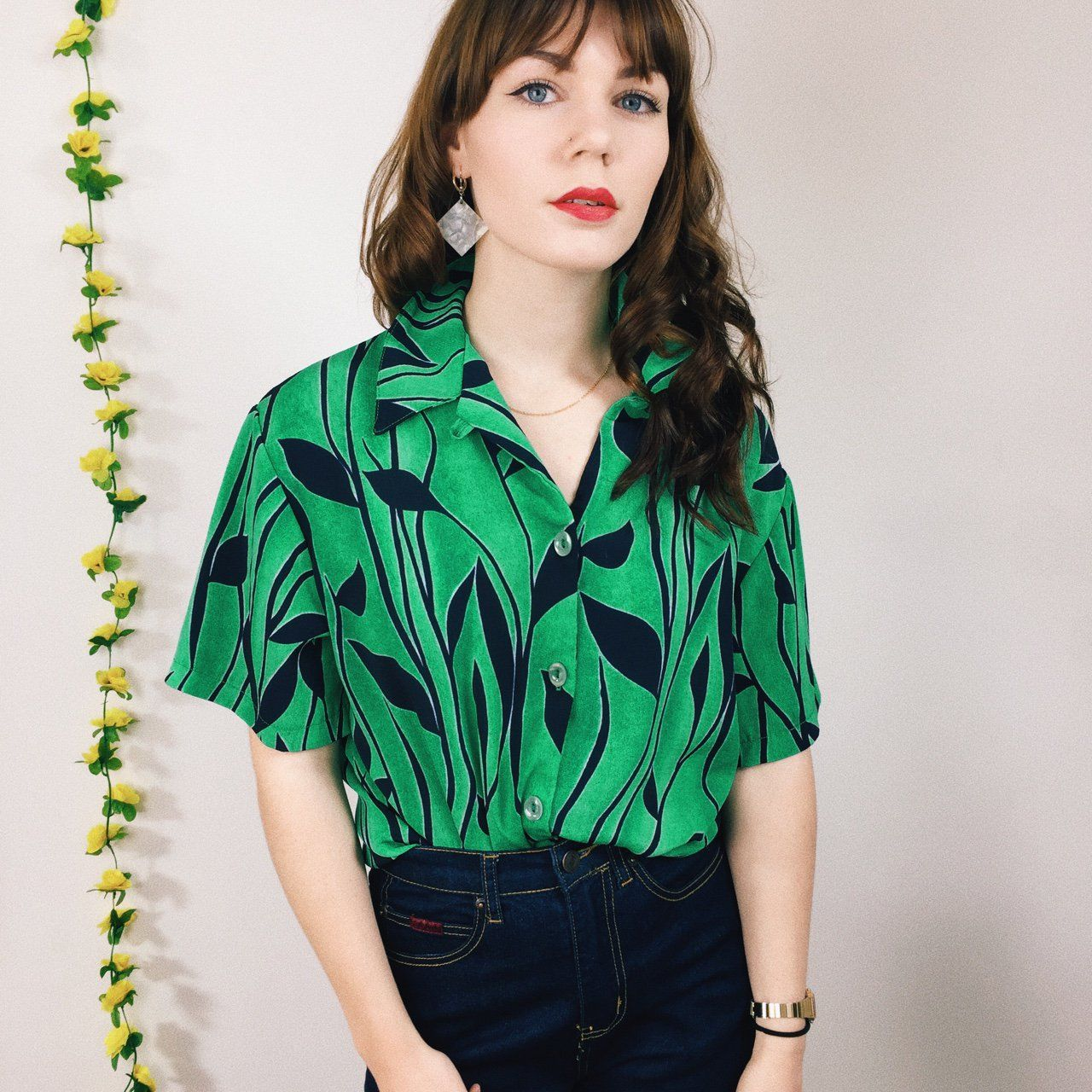 a78774b73ac8 16 quid depop🌿 bright retro green and black vintage shirt 🌿 flower leaves  pattern