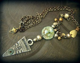 Ancient Roman Glass, Silver Shield, Kuchi, Banjara, Charm, African Beads, Silver Chain Necklace