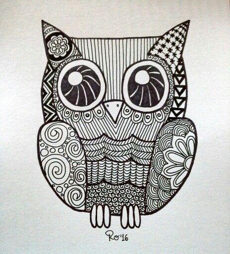 Zentangle De Un Buho Una Lechuza Hecho A Mano Con Marcador Permanente Sharpie Owl Zentangle Hand Drawn With Zentangle Patterns Animal Doodles Zentangle Art