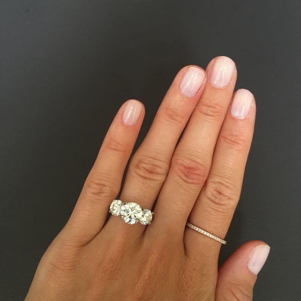 Three Stone Round Brilliant Engagement Ring  Three Stone